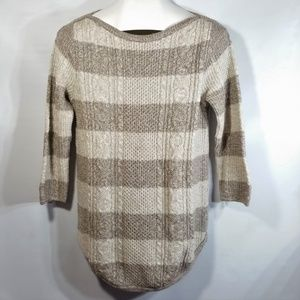 Cable Knit Crochet Pullover Curved Hem 3/4 Sleeve